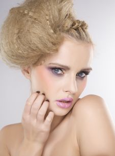 Free Young Pretty Woman With Beautiful Blond Hairs Stock Photos - 26048903