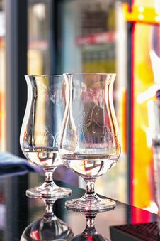 Free Glasses On The Bar Counter Royalty Free Stock Photo - 26049185