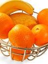 Free Metal  Basket With Orange Fruits Isolated Royalty Free Stock Image - 26053586
