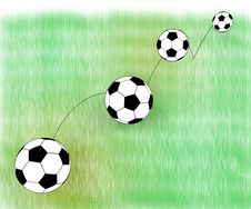 Free Jumping Football Ball On Abstract Grass Stock Photos - 26052013