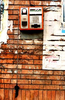 Free Vandalized Pay Phone Royalty Free Stock Photography - 26052307