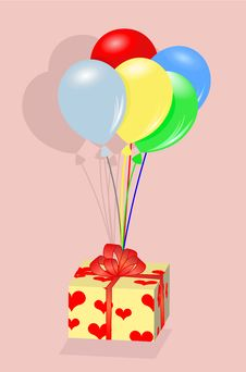 Free Present Box Hanging On Balloons Stock Photography - 26055152