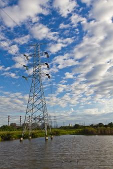 High Voltage Power Transmission Lines And Pylons Royalty Free Stock Image