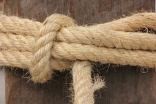 Rope Tied On Wooden Pole