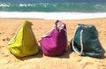Free Summer Holiday - Three Vivid Bags On The Seacoast Royalty Free Stock Photos - 26068278