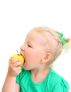 Free Portrait Of A Girl Biting An Apple Royalty Free Stock Photos - 26060048