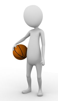 Free 3D Man Holding A Basketball Stock Photo - 26060460