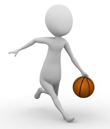 Free 3D Man Running With A Basketball Royalty Free Stock Photo - 26060495