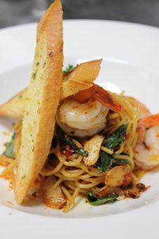 A Spaghetti With Shrimp Stock Photo