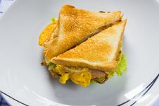 Free Sandwich On Dish Royalty Free Stock Photography - 26061037