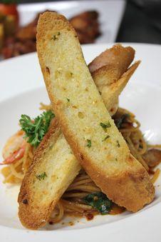 A Spaghetti With Shrimp Stock Photos
