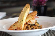 A Spaghetti With Shrimp Royalty Free Stock Photo