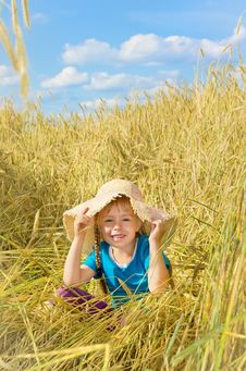 Free The Child In The Rye Field Royalty Free Stock Images - 26062079