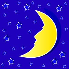 Stars And Moon Stock Photo