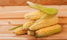 Free A Corn Cob On A Wooden Background Stock Image - 26067181