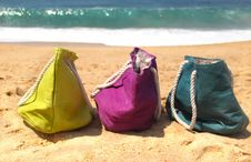 Free Summer Holiday - Three Vivid Bags On The Seacoast Royalty Free Stock Photos - 26068278