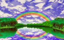 Rainbow Over The Lake Stock Image