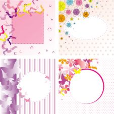 Free Butterflies Floral Frame Backgrounds Set Royalty Free Stock Photos - 26074138