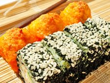Free Rolls With Black Roe And Sesame And Baking Sushi Stock Photo - 26074350