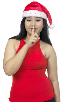 Free Santa Lady Ask To Silence Royalty Free Stock Photography - 26074937