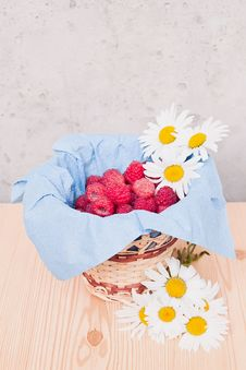 Raspberries In A Basket Royalty Free Stock Photos