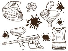 Free Paintball Equipment Doodle Style Royalty Free Stock Images - 26079519