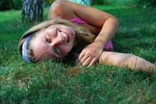 Free Woman Resting On The Grass Royalty Free Stock Images - 26079809