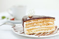 Free Sweet Cake On Table And Cup Of Tea Stock Images - 26084354
