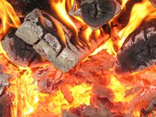 Free Fire Wood Burning In The Furnace Royalty Free Stock Image - 26080066