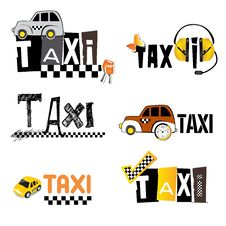 Free TAXI Icons Royalty Free Stock Photos - 26081438