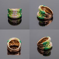 Gold Ring With Crystals Stock Image