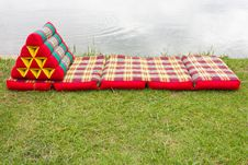 Free Triangular Pillows And Mattresses On The Grass. Royalty Free Stock Image - 26089606