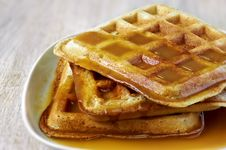 Free Stack Of Homemade Waffles On The Plate With Sweet Sauce On Top Royalty Free Stock Image - 26089916