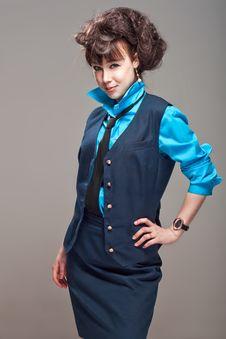 Beatiful Stewardess Stock Photography