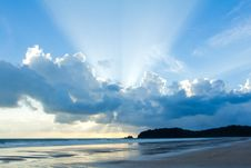 Free Tropical Beach Sunset Sky With Lighted Clouds Royalty Free Stock Photo - 26097045