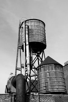 Free Roof Top Water Tanks Stock Photography - 2611632