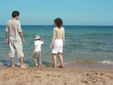 Free Family On A Beach Royalty Free Stock Image - 2612576