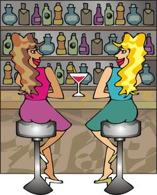 Free Scene Of A Bar With Two Girls Stock Images - 2612814