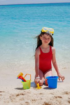 Happy Girl Playing On Island Royalty Free Stock Image