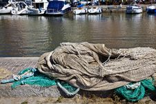 Fishing Nets In The Harbor Stock Image