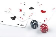 Two Dices With Playing Cards Royalty Free Stock Photos