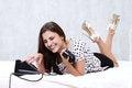 Free Brunette Talking On The Retro Phone Stock Photos - 26117493