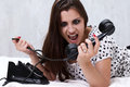 Free Brunette Talking On The Retro Phone Stock Image - 26117561
