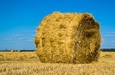 Farm Field With Hay Bales Stock Photos