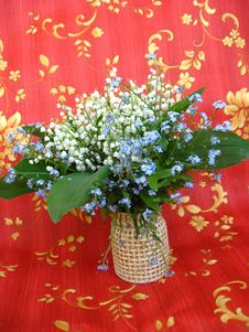 Bouquet Of Lilies Of The Valley And Blue Flowers Royalty Free Stock Photos