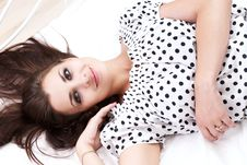 Free Brunette In Her Bed Stock Image - 26117301