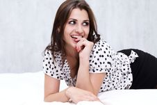 Free Brunette In Her Bed Royalty Free Stock Images - 26117369