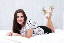 Free Brunette In Her Bed Royalty Free Stock Images - 26117389