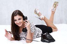 Free Brunette Talking On The Retro Phone Stock Photo - 26117430