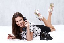 Free Brunette Talking On The Retro Phone Stock Photography - 26117442